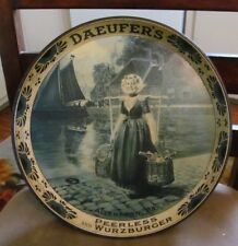 """PRE-PROHIBITION DAEUFER BEER - BREWING CO METAL TIN LITHO 12"""" TRAY ALLENTOWN PA"""