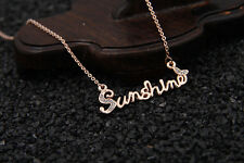 18K Gold Plated Rose Gold Sunshine Necklace With Crystal In Gift Box US seller