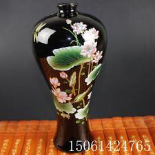 "Chinese old black porcelain ornaments ""lotus high feet"" vase"