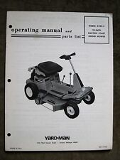 Simplicity YardMan 25 In. Riding Tractor Instruction Manual Parts List Operators