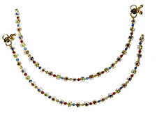 Jwellmart Indian Bollywood Ethnic Gold Polish Colored CZ Anklets Free Shipping