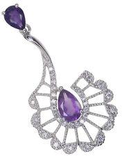 Amethyst Gemstone Fan Design Sterling Silver Pendant + Chain