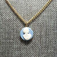 "Vintage Estate Necklace Cameo Pendant Blue White Gold Tone Chain 15"" Box Clasp"