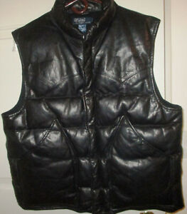 Exc. POLO RALPH LAUREN GENUINE LEATHER DOWN FILLED PADDED VEST   Large