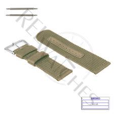 Genuine SEIKO 4A214JL 22mm Beige Nylon Band + Pins   SNZG07 Military Watch Strap