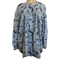WOMAN WITHIN 1X Top Blue Floral Long Sleeve Pintuck Pleat Cotton Shirt
