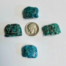 Carved Turquoise Elephant Bead Fetish Fine Color Natural Spiderweb Drilled 4 Pcs