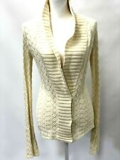 Hollister Womens Juniors Sweater Cardigan Ivory Long Sleeve 3 Snap Buttons Sz L