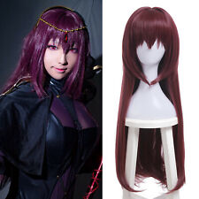 Fate Grand Order FGO Scathach Cosplay Long Straight Dark Red Women Hair Full Wig