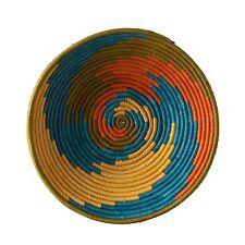 African Basket Sunrise Swirl Fruit or Display Woven Art Authentic Handwoven