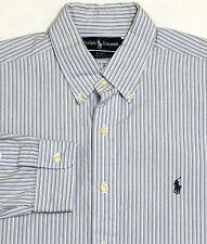 Mens RALPH LAUREN Long Sleeve Shirt LARGE Blue Striped BLAKE Two Ply Cotton
