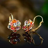 Sevil 18K Gold Plated Multi-Color Flower Leverback Earrings W Swarovski Elements