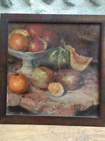 Très Belle Peinture Hst Huile Sur Toile Nature Morte d automne Fruit  signée