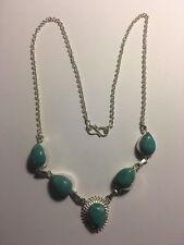 Charming Caribbean Larimar Silver Plated Necklace-N564