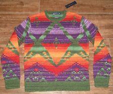 Polo Ralph Lauren Linen Indian Motif Crewneck Sweater MENS M $995 HAND KNIT