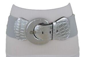 Women Metallic Silver Faux Leather Animal Print Belt Round Buckle Plus M L XL