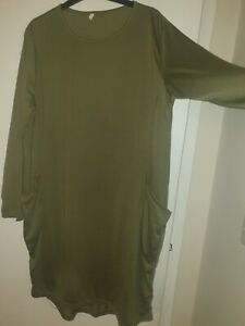 Womens Casual Long Sleeve Midi Dress-Loose Tunic Front Pockets XXXL 16/18 Khaki