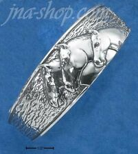 Sterling Silver 22MM WIDE TEXTURED CUFF BRACELET W/ THREE HORSEHEADS