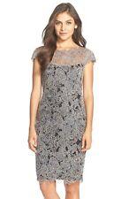 New! $368 Tadashi Shoji Embroidered Mesh Sheath Dress Size 4P