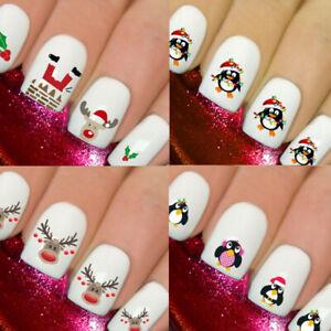 Christmas Snow Santa Nail Designs Nails Art 3D Decals Wraps Stickers Reindeer