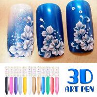 12 Colors 3D Nail Art Paint Drawing Pen Manicure Acrylic Polish Decration