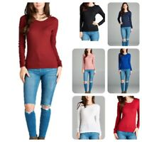 New Women  Basic Thermal Long Sleeve  Solid Waffle Knit  T-Shirt Top (S-3LX)