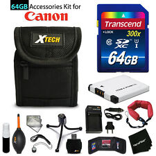 64GB ACCESSORIES Kit for Canon PowerShot ELPH 360 HS w/ 64GB Memory + Battery