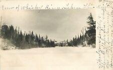 c1905 Whiskey River Bozeman Montana Frozen Winter view Cabin Ranch Rppc