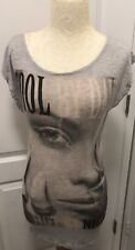 H & M DIVIDED Cool by Day Hot by Night Long Top/Tunic Gray Multi EU 36 US XS