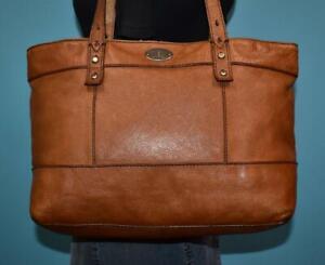 FOSSIL HUNTER Brown Pebbled Leather Shopper Tote Carryall Shoulder Purse Bag