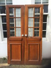 More details for lovely antique mahogany/teak double doors, glazing with brass fretwork.