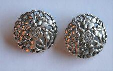 Boucles d'oreille signées KENZO - métal argenté - VINTAGE