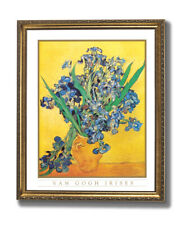Vincent Van Gogh Irises Vase Flower Wall Picture Gold Framed Art Print