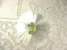 Vintage Spun Glass Round Ornament * Die Cut Angel * String For Hanging