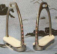 English Horse Saddle Bling ! Pink Crystal Rhinestones Fillis Stirrups Irons