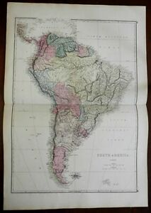 South America continent 1875 scarce large Ettling hand colored map