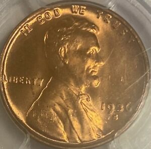 1936-S Lincoln Cent Penny MS66RD Wheat Penny Red Gem!
