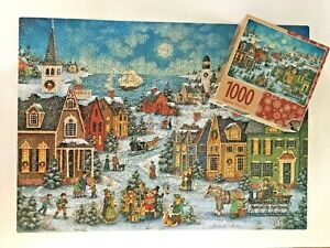 Americana Folk Art Xmas Jigsaw Puzzle 1000 pc Bonnie White Harbor Side Carolers