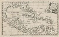 Original antique map of the West Indies by Thomas Jefferys from 1760