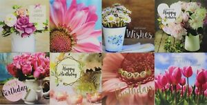 Pack of 8 Mixed Assorted Happy Birthday Cards Flowers Greeting Card