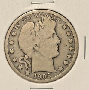 1905 - O barber half dollar  G/VG  two letters in liberty