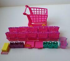 Shopkins LOT of 21 Shopping Baskets & 6 Shopping Bags 1 Pink Shopping Cart EMPTY