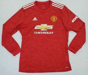 NEW Adidas 2020-21 Manchester United Home L/S Red Jersey Shirt FM4290 Mens XL
