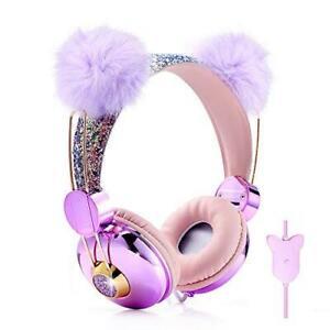 Kids Headphones Glitter Bear Ear Volume Limiting Adjustable Cute Anime Wired