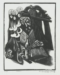 "A cool Bernard Brussel Smith wood engraving, ""Seder"", pencil signed"