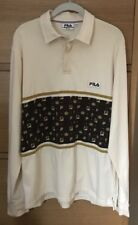 Fila For Urban Outfitters Monogram Cream Rugby Shirt Long Sleeve SZ XL