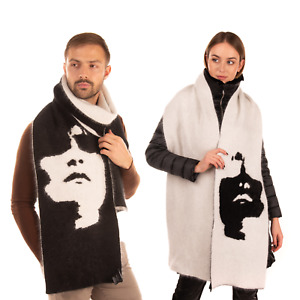 RRP €475 NEIL BARRETT Long Scarf Angora Blend Siouxsie Face Two Tone