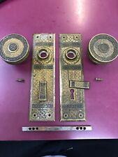 Antique Brass Panels And Door Handles Set Par. March 18/1884 Marked 6970 1/2