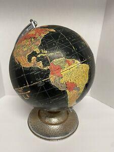 """Replogle 12"""" Precision Globe Black RARE 1959 Pre-Hawaii / Post Alaska Statehood."""