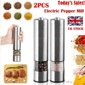 2* Electric Salt and Pepper Grinder Set Shaker Mills Adjustable Coarseness Light